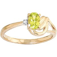 Peridot & Diamond Angel Ring in 18ct Gold - Angel Gifts