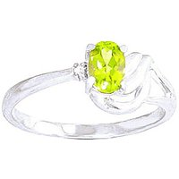 Peridot and Diamond Angel Ring in 9ct White Gold