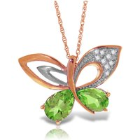 Peridot & Diamond Butterfly Pendant Necklace in 9ct Rose Gold - Fashion Gifts