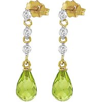Peridot & Diamond Chain Droplet Earrings in 9ct Gold - Jewellery Gifts
