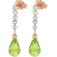 Peridot and Diamond Chain Droplet Earrings in 9ct Rose Gold