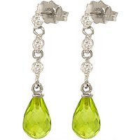Peridot and Diamond Chain Droplet Earrings in 9ct White Gold