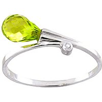 Peridot and Diamond Droplet Ring in 18ct White Gold