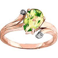 Image of Peridot & Diamond Flank Ring in 18ct Rose Gold