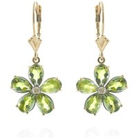 Peridot & Diamond Flower Petal Drop Earrings in 9ct Gold - Flower Gifts