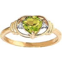 Peridot & Diamond Halo Heart Ring in 9ct Gold - Halo Gifts