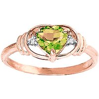 Peridot & Diamond Halo Heart Ring in 9ct Rose Gold - Halo Gifts