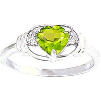 Peridot & Diamond Halo Heart Ring in 9ct White Gold - Halo Gifts