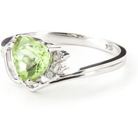 Peridot and Diamond Passion Ring in 9ct White Gold