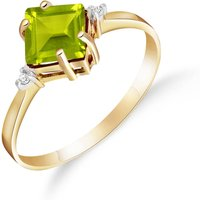 Peridot and Diamond Princess Ring in 18ct Gold