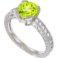 Peridot & Diamond Renaissance Ring in 9ct White Gold - Fantasy Gifts