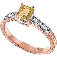 Peridot and Diamond Shoulder Set Ring in 9ct Rose Gold