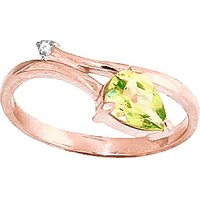 Peridot and Diamond Top and Tail Ring in 9ct Rose Gold