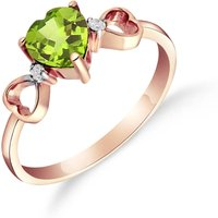 Peridot and Diamond Trinity Ring in 18ct Rose Gold