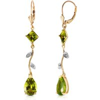 Peridot & Diamond Vine Branch Drop Earrings in 9ct Gold - Jewellery Gifts