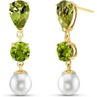 Peridot & Pearl Droplet Earrings in 9ct Gold - Jewellery Gifts