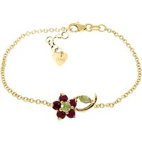 Peridot and Ruby Adjustable Flower Petal Bracelet in 9ct Gold