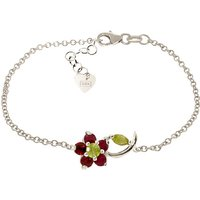 Peridot and Ruby Adjustable Flower Petal Bracelet in 9ct White Gold