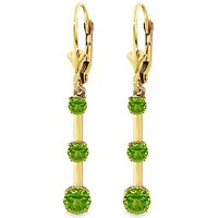 Peridot Bar Drop Earrings 2.5 ctw in 9ct Gold - Jewellery Gifts