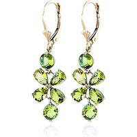 Peridot Blossom Drop Earrings 5.32 ctw in 9ct Gold - Jewellery Gifts