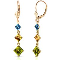 Peridot, Blue Topaz & Citrine Three Stone Drop Earrings in 9ct Gold - Jewellery Gifts