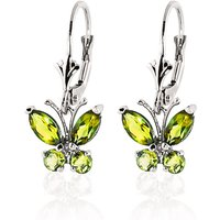 Peridot Butterfly Drop Earrings 1.24 ctw in 9ct White Gold - Gold Gifts