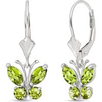 Peridot Butterfly Drop Earrings 1.24 ctw in 9ct White Gold - Butterfly Gifts