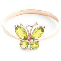 Peridot Butterfly Ring 0.6 ctw in 9ct Rose Gold