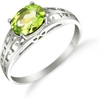 Peridot Catalan Filigree Ring 1.15 ct in 9ct White Gold