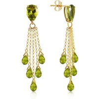 Peridot Comet Tail Drop Earrings 15.5 ctw in 9ct Gold - Jewellery Gifts