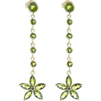 Peridot Daisy Chain Drop Earrings 4.8 ctw in 9ct Gold - Jewellery Gifts