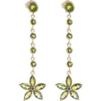 Peridot Daisy Chain Drop Earrings 4.8 ctw in 9ct Rose Gold