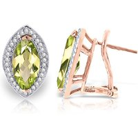 Peridot French Clip Halo Earrings 4.3 ctw in 9ct Rose Gold