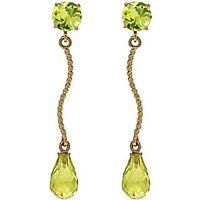 Peridot Lure Drop Earrings 4.3 ctw in 9ct Gold - Jewellery Gifts