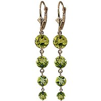 Peridot Quadruplo Drop Earrings 7.8 ctw in 9ct Gold - Jewellery Gifts