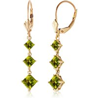Peridot Three Stone Drop Earrings 4.79 ctw in 9ct Gold - Jewellery Gifts