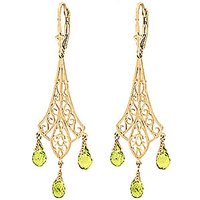 Peridot Trilogy Drop Earrings 4.5 ctw in 9ct Gold - Jewellery Gifts