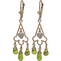 Peridot Trilogy Drop Earrings 4.83 ctw in 9ct Gold - Jewellery Gifts