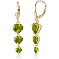 Peridot Triple Heart Drop Earrings 6 ctw in 9ct Gold - Jewellery Gifts