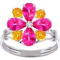 Pink Topaz & Citrine Sunflower Cluster Ring in Sterling Silver - Pink Gifts