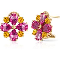 Pink Topaz & Citrine Sunflower Stud French Clip Earrings in 9ct Gold - French Gifts
