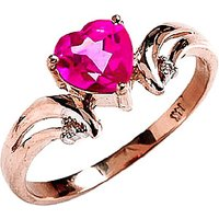 Pink Topaz & Diamond Affection Heart Ring in 18ct Rose Gold - Pink Gifts