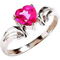 Pink Topaz & Diamond Affection Heart Ring in Sterling Silver - Pink Gifts