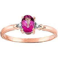Pink Topaz & Diamond Allure Ring in 9ct Rose Gold - Diamond Gifts