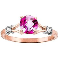 Pink Topaz & Diamond Aspire Ring in 9ct Rose Gold - Diamond Gifts