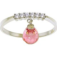 Pink Topaz & Diamond Band in Sterling Silver - Pink Gifts