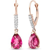 Pink Topaz & Diamond Belle Drop Earrings in 9ct Rose Gold - Qp Jewellers Gifts