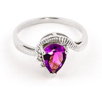 Pink Topaz & Diamond Belle Ring in Sterling Silver - Pink Gifts