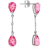 Pink Topaz & Diamond Drop Earrings in 9ct White Gold - Pink Gifts
