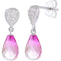 Pink Topaz & Diamond Droplet Earrings in 9ct White Gold - Pink Gifts